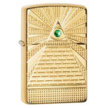 49060 Zippo öngyújtó Magasfényű sárgaréz, zöld Swarovski kristály, Mindent látó szem