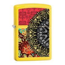 28850 Zippo öngyújtó, matt citromsárga színben, festett virágmintával