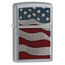 29513 Zippo öngyújtó, Matt ezüst színben - Amerikai zászló rátéttel