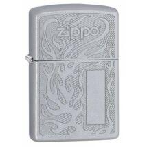 29698 Zippo öngyújtó,Selyemfényű Króm Zippo öngyújtó, Zippo logóval, gravírozható címkével