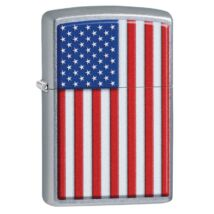 29722 Zippo öngyújtó, utcai csiszolt színben - Amerikai zászlós mintával
