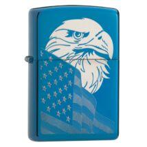 29882 Zippo öngyújtó, polirozott kék színű alapon- Amerikai zászló