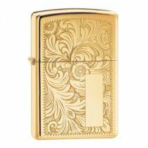 352B Zippo öngyújtó, fényes arany színben, monogram hellyel