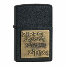 362 Zippo öngyújtó, csiszolt fekete színben, réz színű rátétes logóval