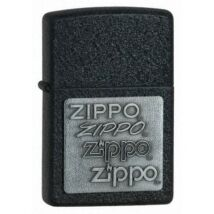363 Zippo öngyújtó, csiszolt fekete színben, ezüst színű rátétes logóval