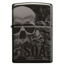 49192 Zippo öngyújtó, black ice színben,koponyákkal,  360°-os gravírozással