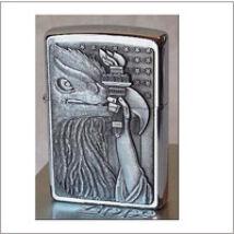 600 Zippo öngyújtó, ezüst színben - Sas fáklyával