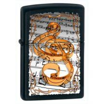 M218 Zippo öngyújtó, matt fekete színben , zenei jegyzetlap