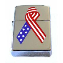 20418 Zippo öngyújtó, fényes ezüst színben - Amerikai zászlós mintával