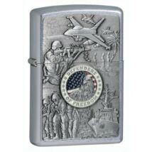 24457 Zippo öngyújtó, csiszolt ezüst színben- USA katonai emblémával