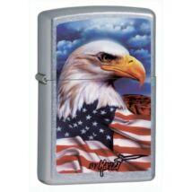 24764 Zippo öngyújtó, utcai csiszolt kivitelben - Amerikai szabadság jelképpel díszítve