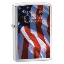 24797 Zippo öngyújtó, szálcsiszolt króm színben - Made in USA felirat zászlóval