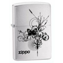 24800 Zippo öngyújtó, ezüst színben díszes logóval - Pillangó