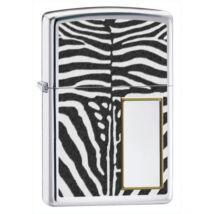 28046 Zippo öngyújtó, fényes ezüst színben - Zebra mintás