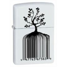 28296 Zippo benzines öngyújtó, matt fehér színben - Vonalkódos fa