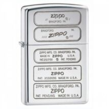 28381 Zippo öngyújtó, magasfényű króm színben- Zippo talpnyomatok