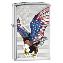 28449 Zippo öngyújtó, magasfényű króm színben - Amerikai zászlós sas