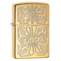 28450 Zippo öngyújtó, magasfényű réz színben logóval - Virágmintás