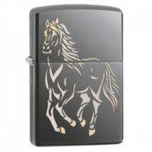 28645 Zippo öngyújtó, black ice színben - Ló mintával