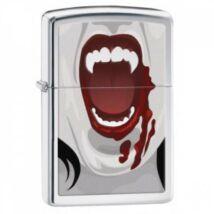 28654 Zippo öngyújtó, szálhúzott ezüst színű alapon - Vámpír fogak
