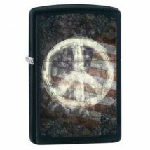 28864 Zippo öngyújtó, matt fekete színben - Béke jel