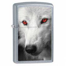 28877 Zippo öngyújtó, utcai csiszolt kivitelben - Vörös szemű farkas