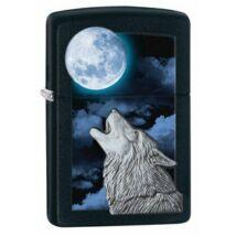28879 Zippo öngyújtó, fekete matt színben - Üvöltő farkas