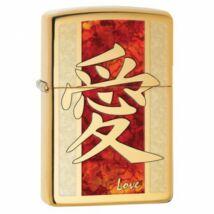 28953 Zippo öngyújtó, Polírozott réz színű - Love felirattal