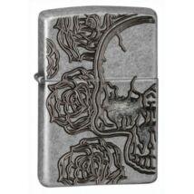 28988 Zippo öngyújtó, antikolt ezüst színben - Koponya rózsákkal