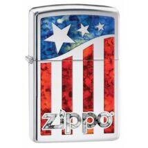 29095 Zippo öngyújtó, ezüst színű alapon fusion kivitelben, logóval  - Amerikai zászló