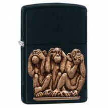 29409 Zippo öngyújtó, Matt fekete - Három majom,  Ne szólj! Ne láss! Ne hallj!