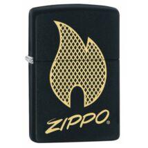 29686 Zippo öngyújtó, Matt fekete-Zippo láng- Zippo logó