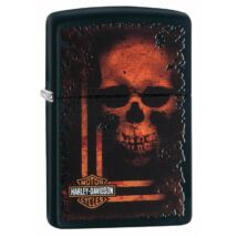 29654 Matt fekete Zippo öngyújtó, Harley Davidson® -Koponyás