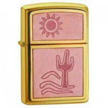 20282 Zippo öngyújtó, fényes arany színben - Kaktusz