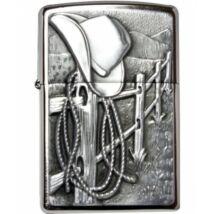 24879 Zippo öngyújtó, csiszolt ezüst színben, Cowboy emblémával díszítve