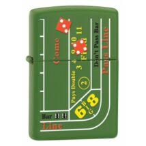 24893 Zippo öngyújtó, matt zöld színben - Kockajáték asztal mintával