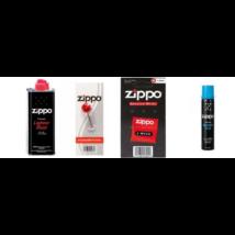 1 db Zippo benzin 125 ml,  1 db Zippo Blu gáz utántöltő - 100 ml, 1 db Zippo Tűzkő,  1 db Zippo kanóc  csomag
