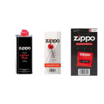 1 db Zippo benzin 125 ml,  1 db Zippo Tűzkő,  1 db Zippo kanóc  csomag