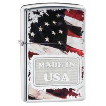29679 Zippo Csiszolt Króm öngyújtó,Made in USA felirattal Amerikai zászlóval