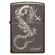 49030z Zippo öngyújtó Black Ice színben, kínai sárkány motívummal