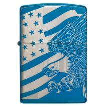 49046z Zippo öngyújtó kék színben,360 °-os gravírozás- Sas és az amerikai zászló