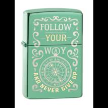 49161 Zippo öngyújtó Fényes zöld, két tónusú gravírozással, Fallow Your Way
