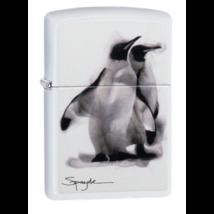 49092 Zippo öngyújtó Matt fehér színben, Spazuk -Pingvinek