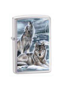 28002 Zippo öngyújtó, szálcsiszolt króm színben - Üvöltő farkas