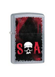28836 Zippo öngyújtó, utcai csiszolt felülettel, Sons of Anarchy emblémával