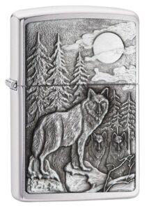 20855 Zippo öngyújtó, szálcsiszolt króm színben - Erdei farkas