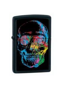28042 Zippo öngyújtó, matt fekete színben - Röntgenképes koponya