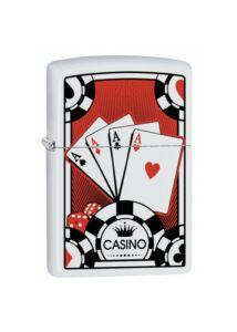29690 Zippo öngyújtó, Matt fehér - Kártya Ászok emblémával