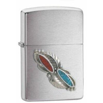 20606 Zippo öngyújtó, ezüst színben -Feather Stone