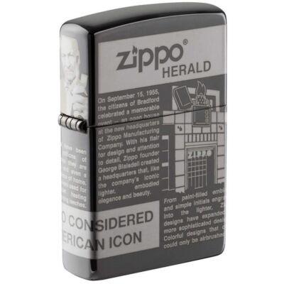 49049 Zippo öngyújtó Black Ice színben -Zippo Newsprint Design